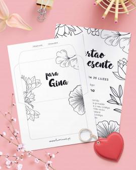 Cartão de Presente Black White Flowers